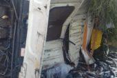 Didim'de balık kamyonu devrildi, binlerce balık caddeye saçıldı