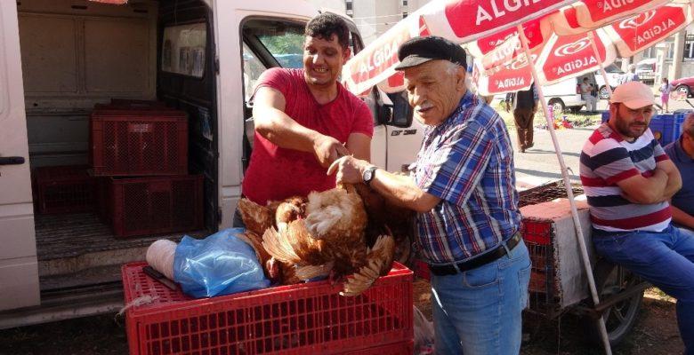Uşak'ta canlı tavuk ve kanatlı hayvan pazarı yoğun ilgi görüyor